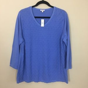 Talbots Periwinkle Blue Cable Knit Sweater NWT XL